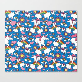 Unicorns and Rainbows Pattern (Royal Blue Background) Canvas Print