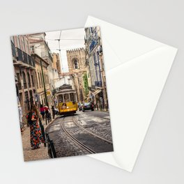 Tram 28 transports tourists through Alfama district in Lisbon, Portugal Stationery Cards