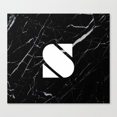 Black Marble - Alphabet S Canvas Print