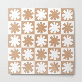 Mid Century Modern Check and Star Pattern 244 Beige Metal Print