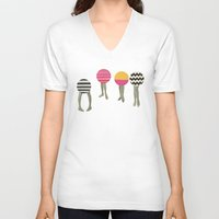 feet V-neck T-shirts featuring Dancing Feet by Cassia Beck