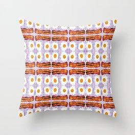 psicodic eggs and bacon Throw Pillow