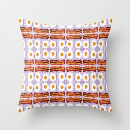 psicodic eggs and bacon Throw Pillow