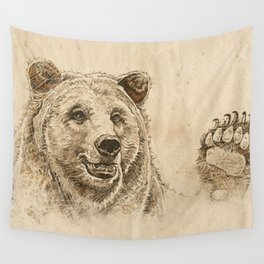 Grizzly Bear Greeting Wall Tapestry