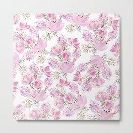Modern pink lavender watercolor hand painted flowers Metal Print