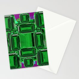Emerald Gems May Babies Birthstones on Purple Stationery Cards