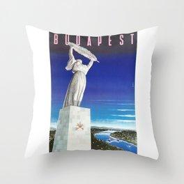 Budapest, Hungary, Gellért Hill, Liberty Statue, vintage poster Throw Pillow