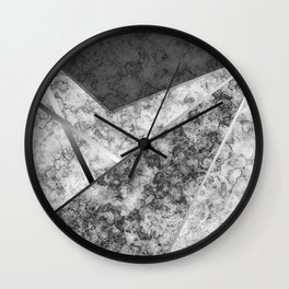 Combined abstract pattern in black and white . Wall Clock