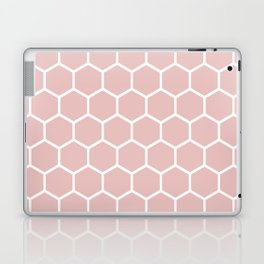 White and neutral beige honeycomb pattern Laptop & iPad Skin