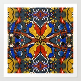 Owls In Space Multiplied Art Print
