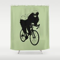 health Shower Curtains featuring Honeybadger does care, about his health. by TypicalArtGuy