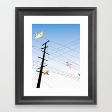 Birds on a wire Framed Art Print