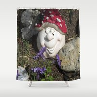 gnome Shower Curtains featuring Happy gnome by KendraH