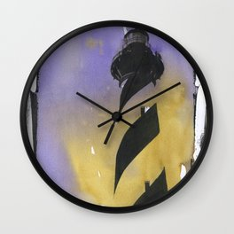 Cape Hatteras lighthouse- Outer Banks, North Carolina.  Lighthouse painting OBX. Wall Clock
