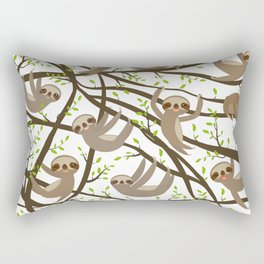 funny and cute smiling Three-toed sloth on green branch tree creeper Rectangular Pillow