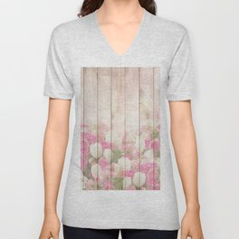 Beautiful Pink Tulip Floral Vintage Shabby Chic Unisex V-Neck