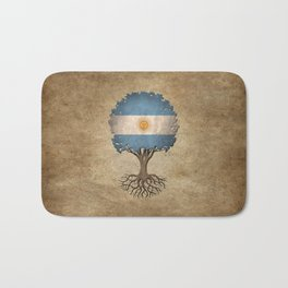 Vintage Tree of Life with Flag of Argentina Bath Mat