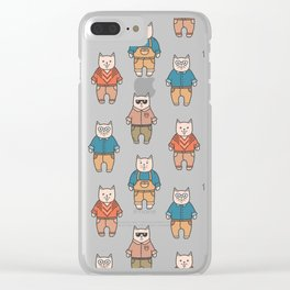 Cute cartoon cats pattern Clear iPhone Case