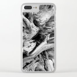 Black and White Driftwood Clear iPhone Case