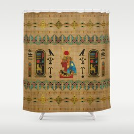 Hathor Egyptian Ornament on papyrus Shower Curtain