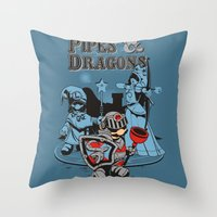 dungeons and dragons Throw Pillows featuring PIPES & DRAGONS by Adams Pinto