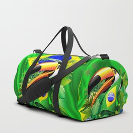 Toco Toucan with Brazil Flag Duffle Bag