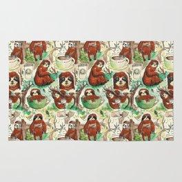 sloth in coffee pattern Rug