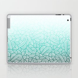 Gradient turquoise blue and white swirls doodles Laptop & iPad Skin