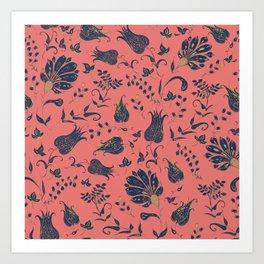 Paradise Florals - Coral & Blue Art Print