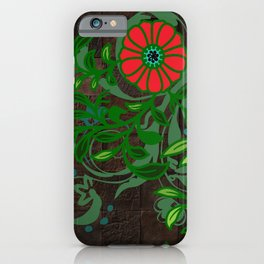 Floral - Florals - Flowers - Wood - Blues & Green iPhone Case