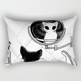 Alien Cat Staring Into Parallel Universe - Space Bathroom - Trippy Line Art Rectangular Pillow