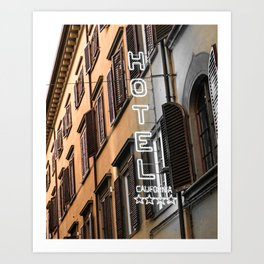 Hotel California // A Modern Artsy Style Graphic Photography of Neon Sign in Europe on Buildings Art Print