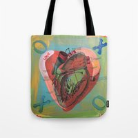 anatomical heart Tote Bags featuring Anatomical Sacred Heart by Silva Ware by Walter Silva