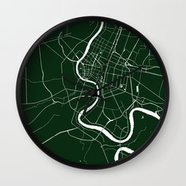 Bangkok Thailand Minimal Street Map - Forest Green and White Wall Clock