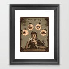 Cat Eyes Makeup Tutorial Illustration Framed Art Print