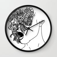 anxiety Wall Clocks featuring Anxiety by Jacquelyn Anthony