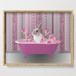 Bunny sitting in bathtub with lotus flowers #society6 Serving Tray