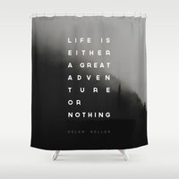 helen Shower Curtains featuring Adventure or Nothing by Zeke Tucker