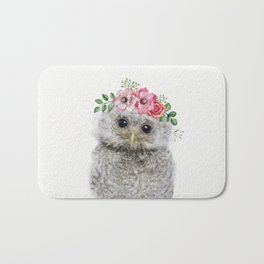 Baby Owl with Flower Crown Bath Mat