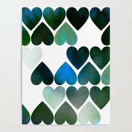 Mod Blue Hearts Poster