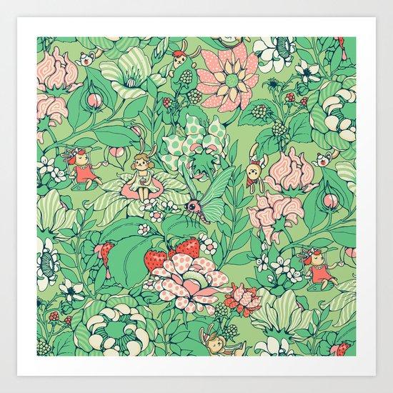 Garden party - sage tea version Art Print