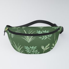 Bouquet of branches and leaves pattern,  Dark Green background Fanny Pack