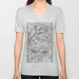 Wander in Black & White - Dreamy Ink Drawing Unisex V-Neck