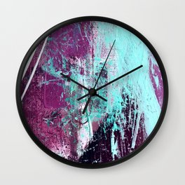 01012: a vibrant abstract piece in teal and ultraviolet Wall Clock