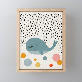 Whale, Abstract, Mid century modern kids wall art, Nursery room Framed Mini Art Print