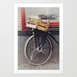 Bicycle, Wood Crate Art Print