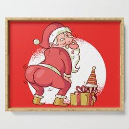 SANTA TWERK FUNNY CHRISTMAS DANCE CARTOON Serving Tray
