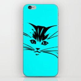 Aqua Kitty Cat Face iPhone Skin