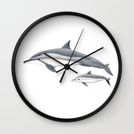 Long-beaked dolphin and baby Wall Clock