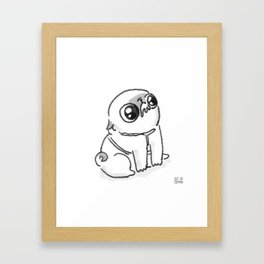 Mochi the pug begging Framed Art Print